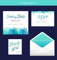 Wedding collection with watercolor vector image