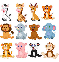Wild animals cartoon collection set vector
