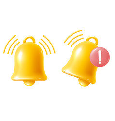 Yellow bell notification sign icon vector