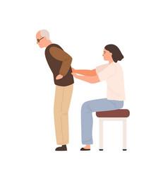 young female chiropractor examining elderly vector image