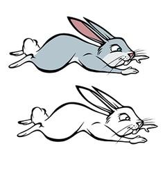 bunny hopping coloring book vector image