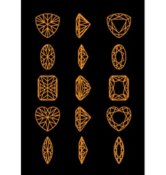 Collection of different shapes of a gemstone vector image