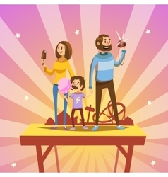 Family in amusement park vector image