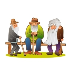 Funny three old mens sitting on the bench Old man vector image vector image