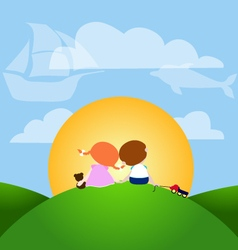 Small happiness for girl and boy vector image vector image