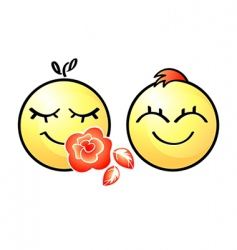 smiley couple vector image vector image