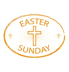 easter sunday stamp with cross symbol vector image vector image