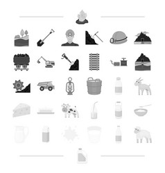 Milk products animals and other web icon in black vector
