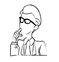 portrait male business man cartoon work people vector image vector image