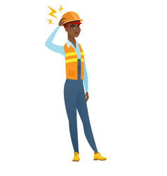 African builder with lightning over her head vector
