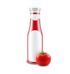 blank glass glossy red tomato ketchup vector image vector image