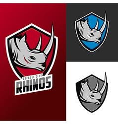Rhino mascots set for sport teams vector