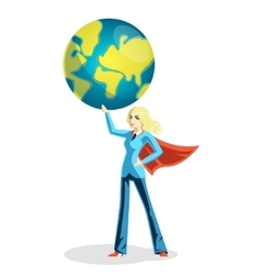 Business woman holding world globe vector image vector image