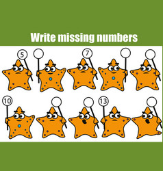 mathematics educational game for children write vector image vector image