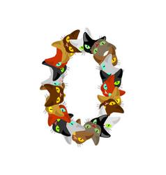 number 0 cat font cats number zero pet alphabet vector image