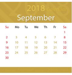 september 2018 calendar popular premium for vector image vector image