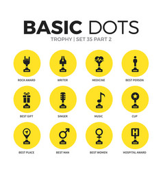 trophy flat icons set vector image vector image