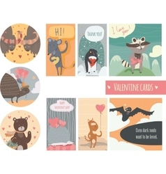 Valentine card set with fun animals with hearts vector image