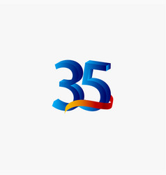 35 years anniversary celebration number blue vector