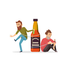 Alcohol addict drunk men alcohol abuse vector