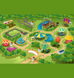 Amusement park map vector