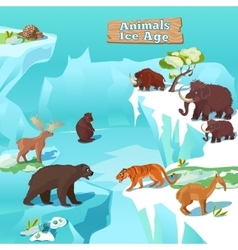 Animals ice age composition vector