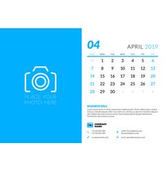 april 2019 desk calendar design template with vector image