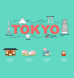 attractive landmark icons for traveling in tokyo vector image