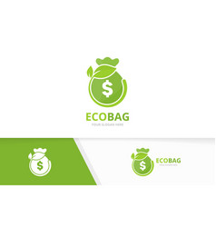 bag and leaf logo combination sack and eco vector image