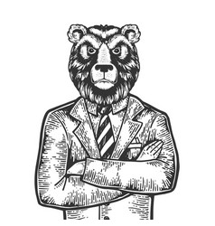 bear businessman engraving vector image