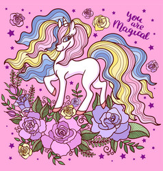 beautiful white unicorn among roses on a pink bac vector image