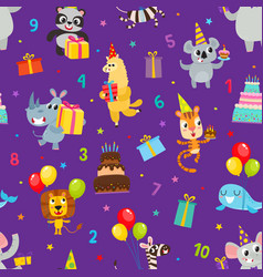 Birthday party cartoon seamless pattern with vector