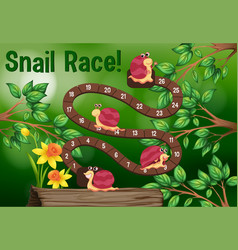 Boardgame template with snails on tree vector