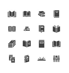 Books flat glyph icons reading library vector