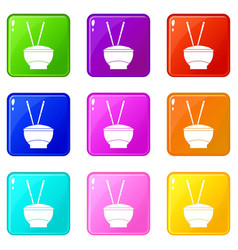 Bowl of rice with chopsticks icons 9 set vector