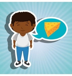 Boy cartoon cheese sliced food vector