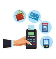 Businessman hand with card reader and eletronic vector