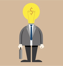 Businessman light bulb on head in suit vector image
