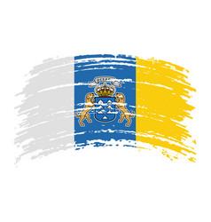 Canary islands flag in grunge brush stroke vector