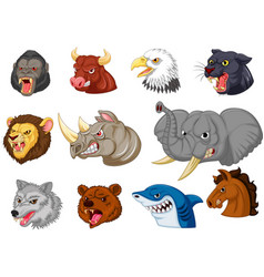 Cartoon angry animals head collection set vector