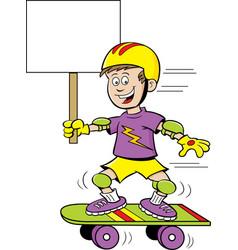 Cartoon boy riding a skateboard while holding a si vector