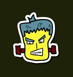cartoon zombie head with gradients vector image