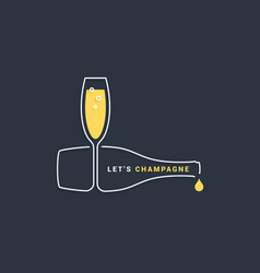 champagne bottle with wine glass line icon vector image