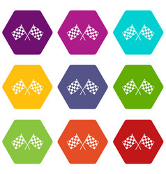 checkered racing flags icon set color hexahedron vector image