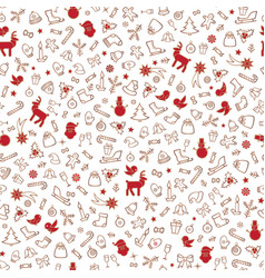 christmas icons seamless pattern happy winter vector image