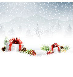 christmas with gift fir and pine cone on the snow vector image