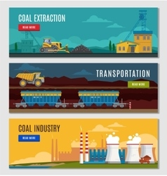 Coal industry banners set vector