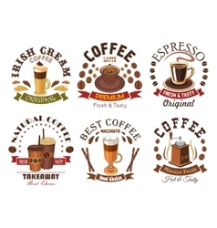 Coffee icons for cafe signboard emblem vector image