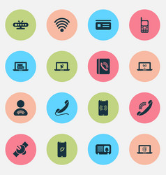 communication icons set with letter handset wifi vector image