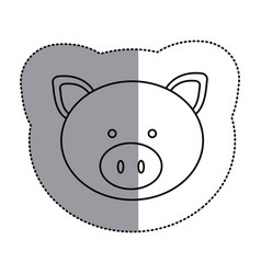 Contour face pig icon vector